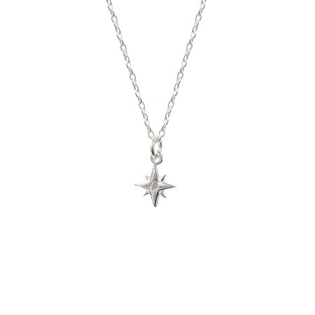 Colar Estrela Cadente Cravejada Prata 925