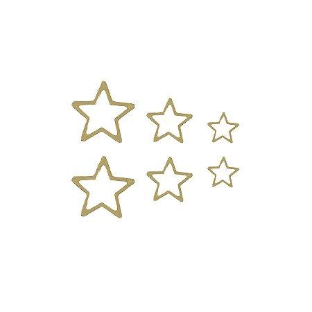 Trio de Estrelas Vazado Prata 925 com Banho de Ouro