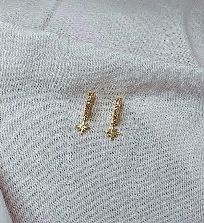 Argolinhas Estrela Cadente Prata 925 com Banho de Ouro