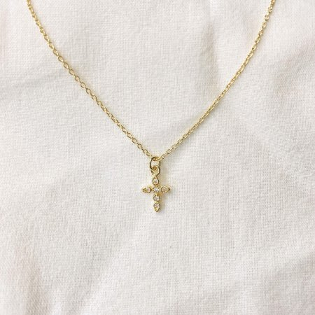 Colar Mini Cruz Cravejada Prata 925 com Banho de Ouro