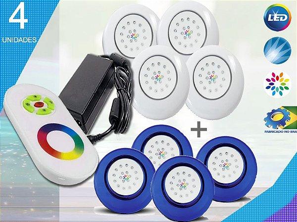 Kit Iluminação Piscina Enertech LED RGB 4x18 Watts - 12 cm