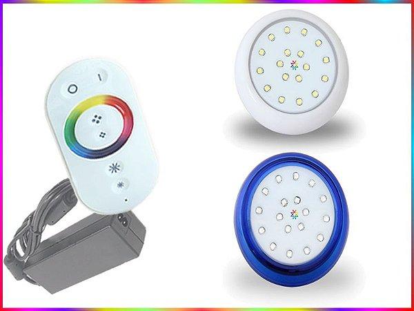 Kit Iluminação Piscina LED RGB 1x18 Watts - 8 cm