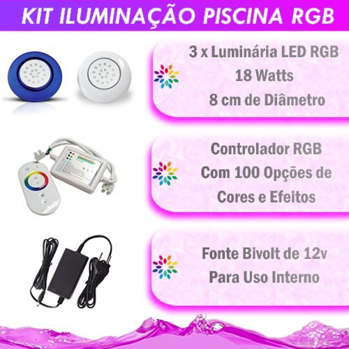 Kit Iluminação Piscina LED RGB 3x18 Watts - 8 cm
