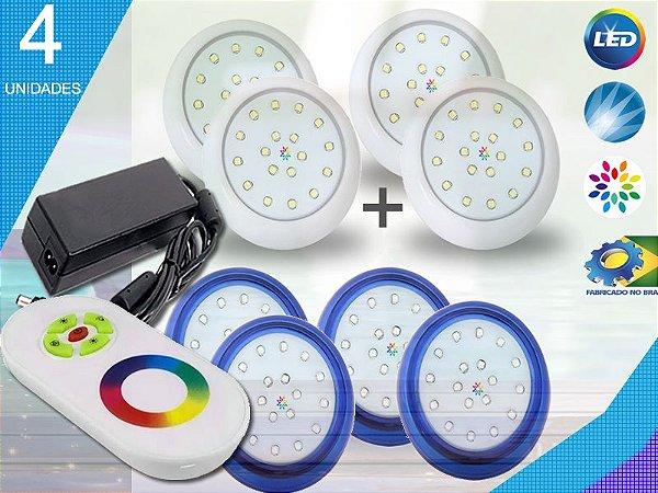 Kit Completo Iluminação Piscina Enertech LED RGB 4x18 Watts - 8 cm