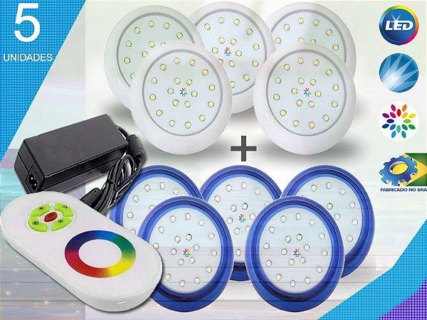 Kit Completo Iluminação Piscina Enertech LED RGB 5x18 Watts - 8 cm