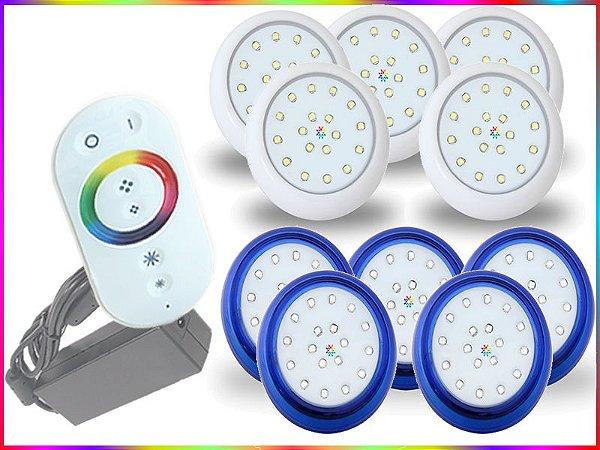 Kit Iluminação Piscina LED RGB 5x18 Watts - 8 cm
