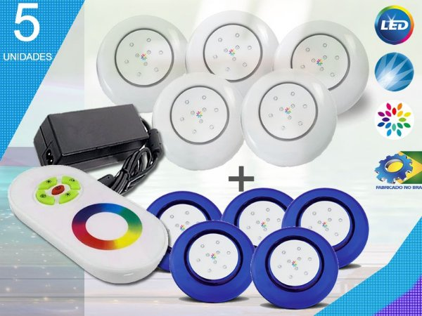 Kit Iluminação Piscina Enertech LED RGB 5x9 Watts - 12 cm