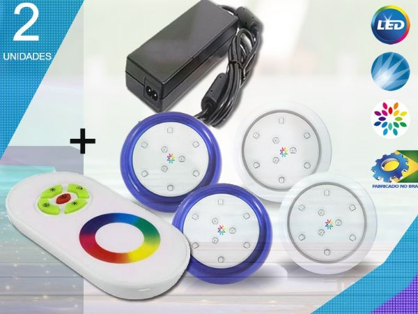 Kit Completo Iluminação Piscina Enertech LED RGB 2x9 Watts - 8 cm