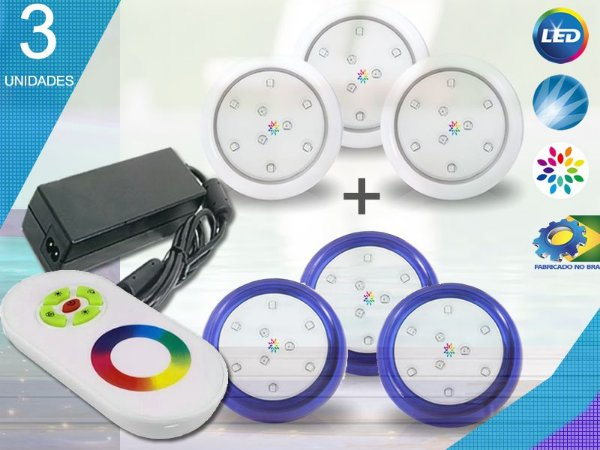 Kit Iluminação Piscina Enertech LED RGB 3x9 Watts - 8 cm