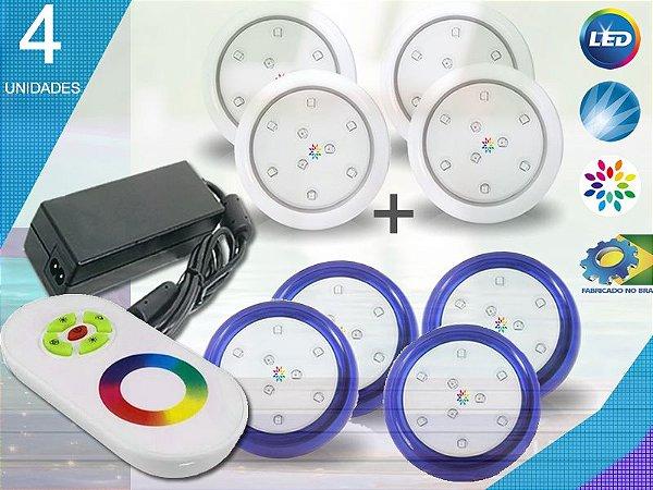 Kit Iluminação Piscina Enertech LED RGB 4x9 Watts - 8 cm
