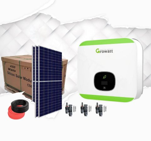 Kit Completo Gerador Fotovoltaico 1.8KWP Growatt C/ 4 Paíneis 450 Watts Phono - Mono 220V Wireless