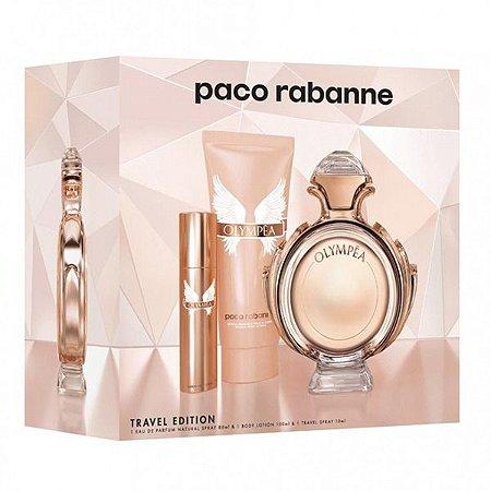 Perfume Olympea 80ml + Hidratante 100ml + Perfume Recarregável 10ml Paco Rabanne Eau de Parfum Feminino