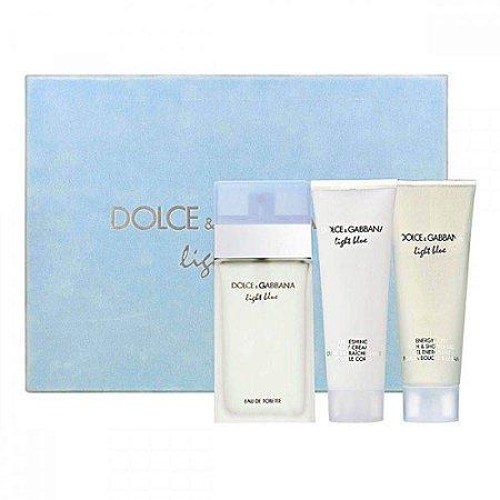 Perfume Light Blue 100ml + Hidratante 100ml + Gel de Banho 100ml Dolce Gabbana Eau de Toilette Feminino
