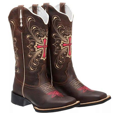 BOTA CRUZ   BORDADO   FEMININO - Loja Carrero Boots a0f6541aab7