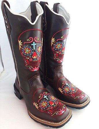 Bota Feminina marrom  Caveira mexicana - Loja Carrero Boots 4f977c16e13