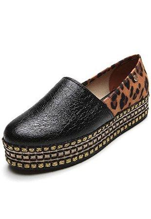 Sapato Vizzano Slip On Flatform Camurça Onça