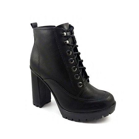 Bota Ankle Boot Bebecê Napa Stone Chicago Preto