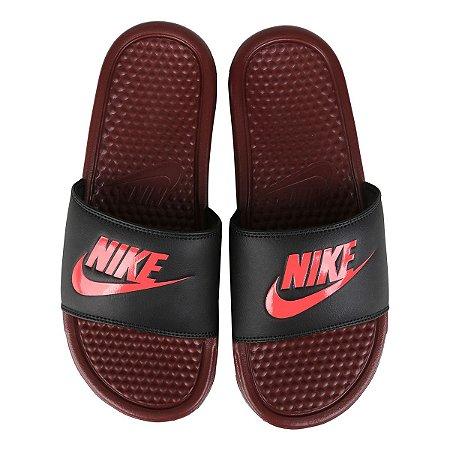 Sandália Nike Slide Benassi Jdi Vinho com Preto Masculino