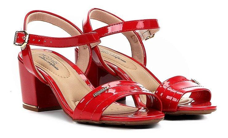 Sandália Modare Salto Grosso Conforto Vermelha Feminina