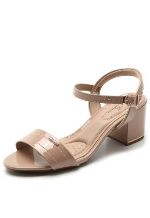 Sandália Modare Salto Grosso Verniz Premium Bege Feminina
