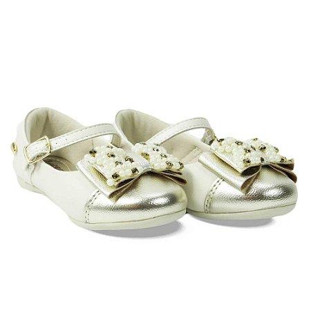 Sapato Infantil  Klin Princesa Baby - Branco/Dourado