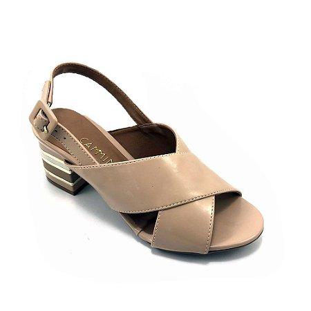 Sandália Camminare Salto Bloco Verniz Nude