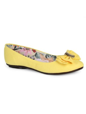 Sapatilha Moleca Camurça Flex Amarelo Floral Laço Duplo