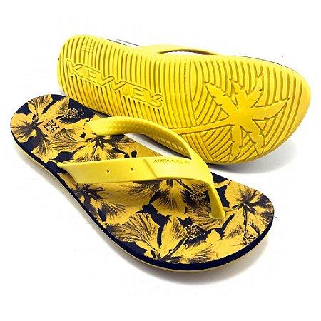 Chinelo Kenner Summer Hibisc Amarela com Preto Masculino