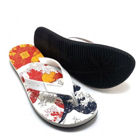 Chinelo Kenner Summer Wave Tropical Branca Masculino