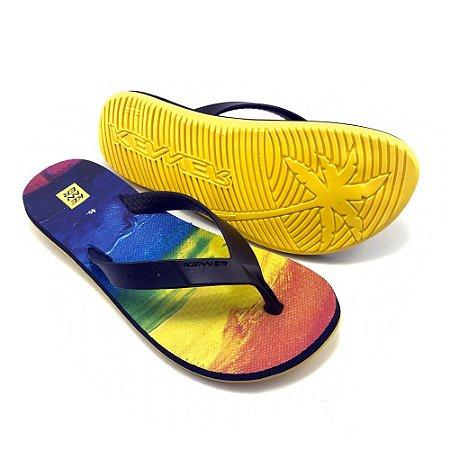 Chinelo Kenner Summer Rainbow Preta com Amarelo Masculino
