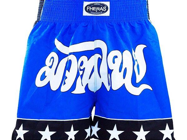 Bermuda Muay Thai Fheras Estrelas Azul com Preto Unissex