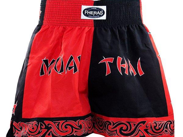 Bermuda Muay Thai Fheras Estrelas Vermelho com Preto Unissex