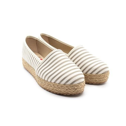 Sapato Alpargata Moleca Tecido Listras Cinza Claro Feminino