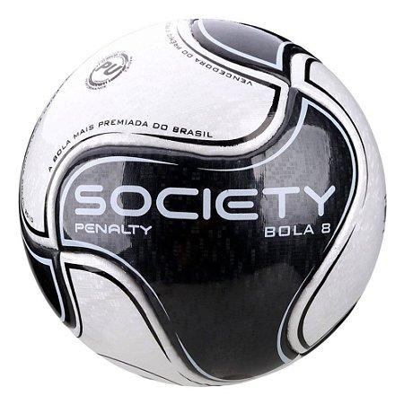 Bola de Futebol Penalty Bola 8 Society 9 Branca com Preto
