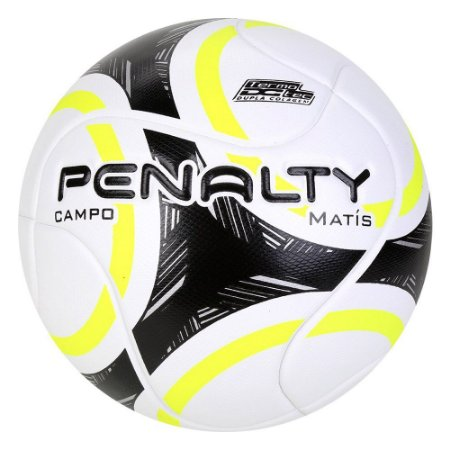 Bola de Futebol Campo Penalty Matis 9 Branco com Amarelo