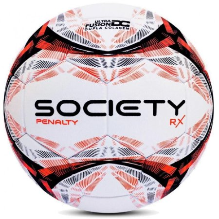 Bola de Futebol Society Penalty Rx R1 9 Branco com Laranja
