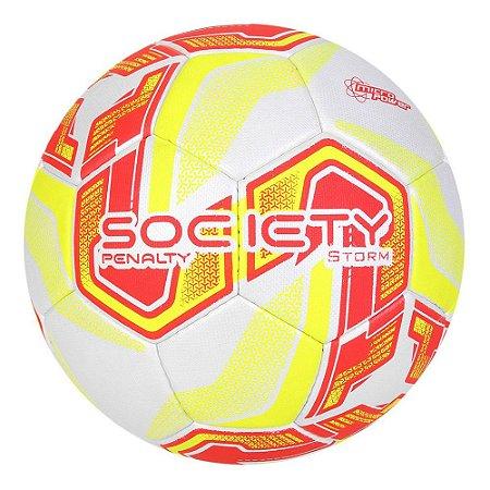 Bola de Futebol Society Penalty Storm Dt Branco com Vermelho