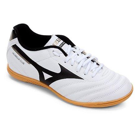Chuteira Futsal Mizuno Morelia Club Branca com Preto