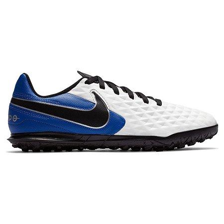 Chuteira Society Nike Tiempo Legend 8 Club Azul com Branco