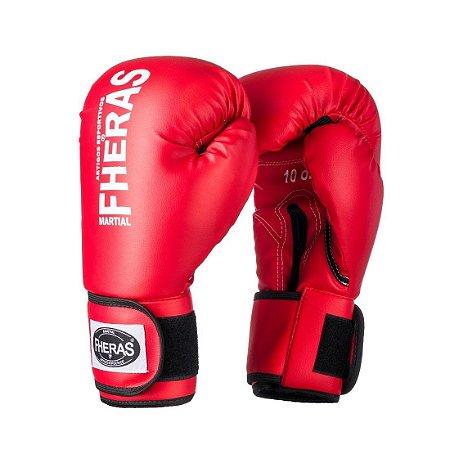 Luva de Boxe/Muay Thai Fheras Orion Trad Vermelha com Branco