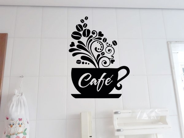 Adesivo de parede para cozinha azulejo xicará de café