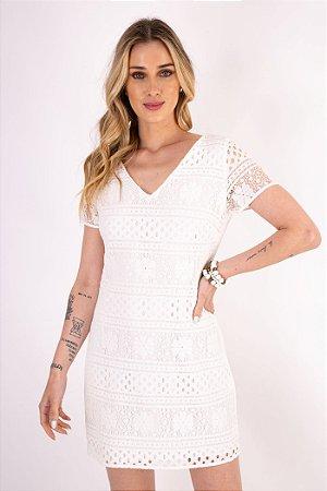 Vestido M/G Curta Renda Lilly Off White