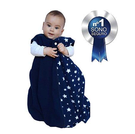 Saco de dormir para bebê em Microsoft azul marinho estrelas (inverno)
