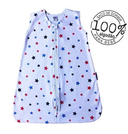 Saco para bebê dormir em malha 100% algodão estrela azul (verão)