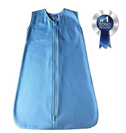 Saco de dormir para bebê em Moletinho Azul Celeste (Meia Estação)