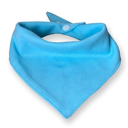 Babador bandana dupla face para bebê azul malha 100% algodão