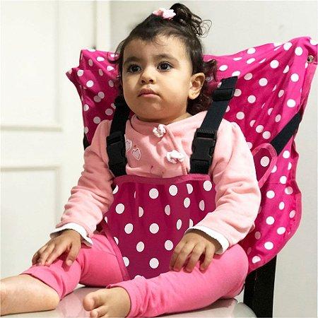 Cadeirinha Assento Portátil para Bebê em Tecido Pink Poa