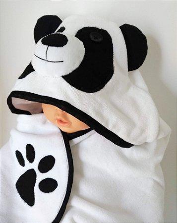 Toalha de banho aveludada com capuz urso panda para bebê 100% algodão
