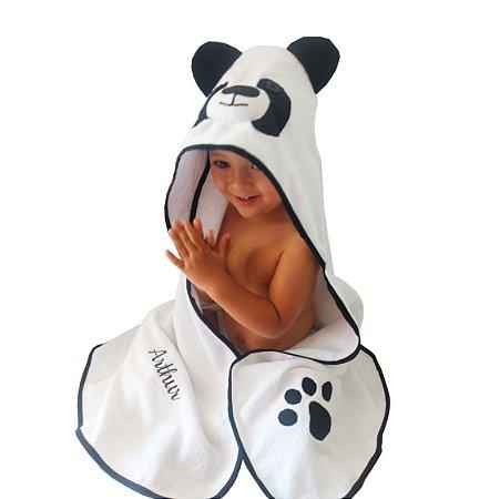 Toalha de banho com capuz urso panda para bebê 100% algodão