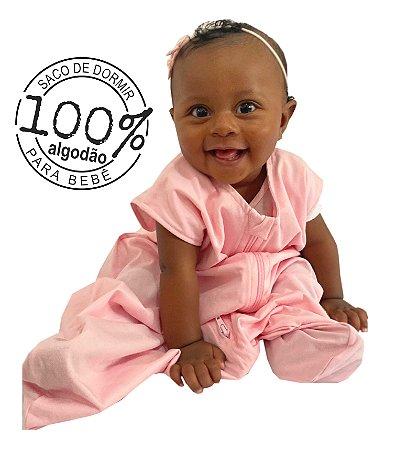 Saco para bebê dormir malha 100% algodão rosa (verão)